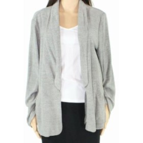 Mello  ファッション トップス Mello Day Womens Sweater Gray Size XL Cardigan Ruched Sleeves Open Front