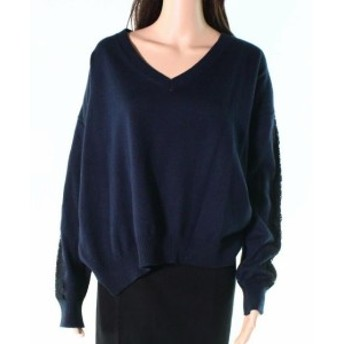 Union ユニオン ファッション トップス 14 & Union Womens Navy Lace Blue Size 2X Plus Cuffed V-Neck Sweater