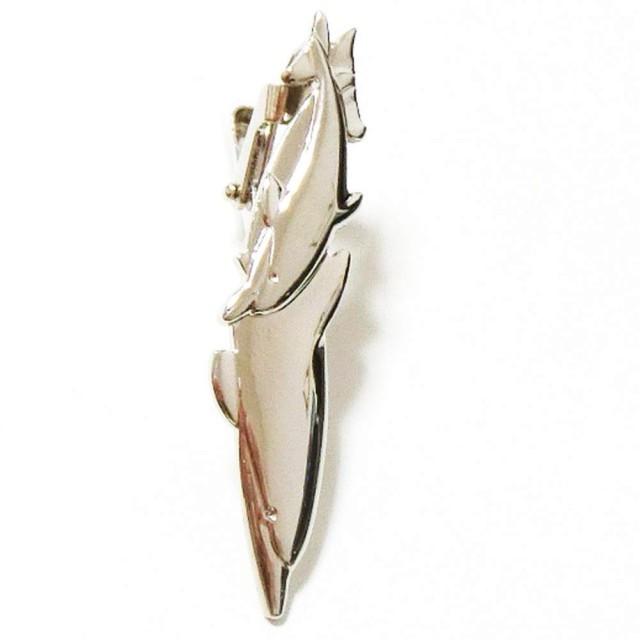 ネクタイピン タイピン タイバー マネークリップ メンズ レディース 海豚 イルカ いるか 親子 シルバー 銀 上質 プレゼント しおり ブローチ 男 女 NP047