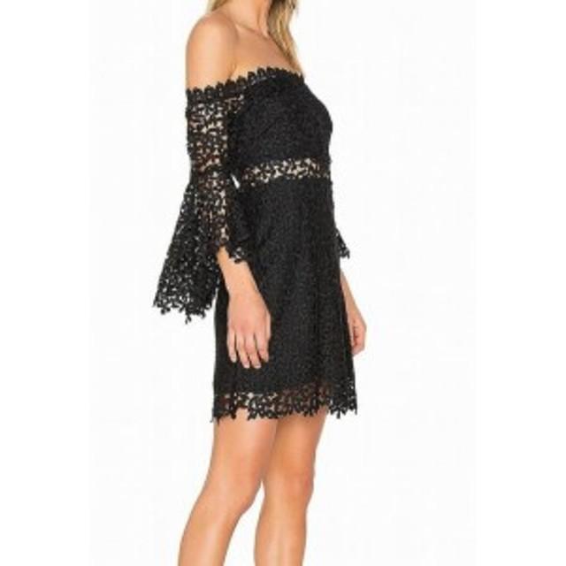 ファッション ドレス Amur NEW Black Womens Size 00 Floral Crochet Knit Sheath Dress