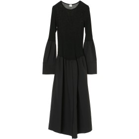 ELIN ウールジャージーコンビドレス ワンピース,ブラック