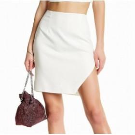 ファッション スカート NBD NEW White Womens Size Small S Asymmetrical Crepe Textured Skirt #763
