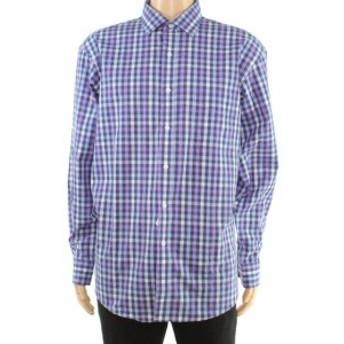 ファッション ドレス Club Room Mens Dress Shirt Blue Size 17 Regular Fit Gingham Print