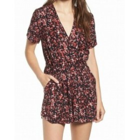 RVCA ルーカ ファッション ジャンプスーツ RVCA NEW Red Printed Roe Womens Size XL Pleated Faux Wrap Romper