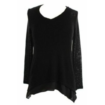 ファッション トップス Bar III New Black Long-Sleeve Chiffon-Hem V-Neck Sweater S
