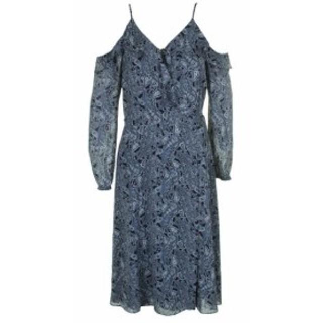 Michael Kors マイケルコルス ファッション ドレス Michael kors chambray blue cold-shoulder paisley dress