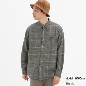 (GU)フランネルチェックシャツ(長袖)F GRAY XXL