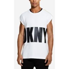 DKNY ダナキャランニューヨーク ファッション トップス DKNY Mens Shirt White Size Small S Logo Textured Knit Graphic Tee