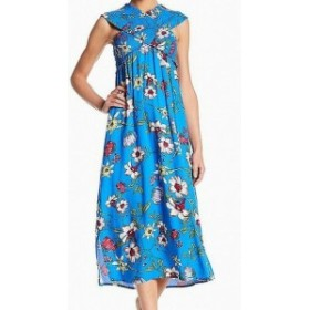 Lush ラッシュ ファッション ドレス LUSH NEW Blue Floral Smocked Womens Size Small S Bodice Maxi Dress