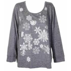 ファッション トップス Style & Co Plus Size Grey Snowflake Graphic Glitter Sweatshirt 1X