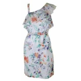 Calvin Klein カルバンクライン ファッション ドレス Calvin Klein White Multi Cotton Floral One Shoulder Sheath Dress 8