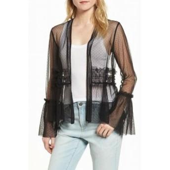 Willow & Clay ウィロー&クレイ ファッション 衣類 Willow & Clay Womens Jacket Black Size Medium M Mesh Polkadot Sheer
