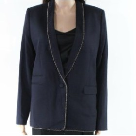 Blazer ブレザー ファッション フォーマル The Kooples NEW Navy Blue Womens Size 28 Beaded Open Front Trim Blazer