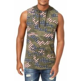 American  ファッション トップス American Rag Mens Hoodie Green Navy Size XL Stars Striped Pullover