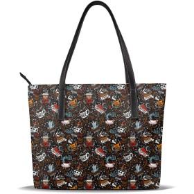 バッグ トートバッグ コーヒー ハンドバッグ ショルダーバッグ 革 収納 大容量 軽量 防水 盗難防止 誕生日 入学式 母の日 ビジネス 旅行 多機能