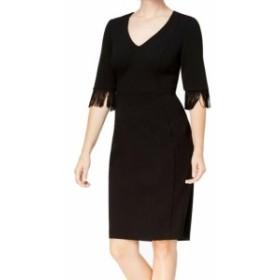 Calvin Klein カルバンクライン ファッション ドレス Calvin Klein Womens Black Size 14 Fringed Sleeve V-Neck Sheath Dress