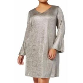 Shift  ファッション ドレス Connected Apparel NEW Silver Womens Size 14W Plus Metallic Shift Dress