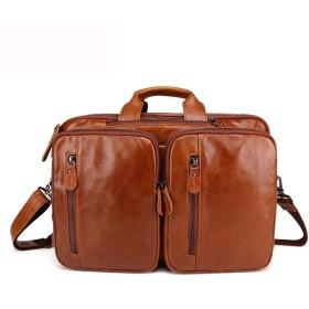 メンズバッグ 男性のための多機能バッグ旅行バックパック本物のレザーラップメッセンジャーバッグビジネスコンピュータブリーフケース レザーバッグ (Color : Yellow Brown, Size : S)