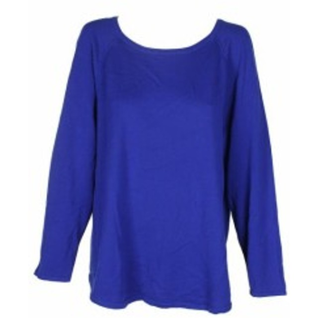 Scott  ファッション トップス Karen scott bright blue cotton rounded hem long sleeve sweater m