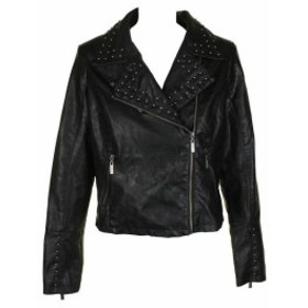 Silver  ファッション 衣類 Jou Jou Classic Black Silver with Studded Faux Leather Moto Jacket XS