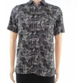 ファッション アウター Tasso Elba Mens Shirt Black Size Small S Life Tile Print Button Up