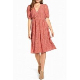 Hinge ヒンジ ファッション ドレス HINGE Womens Floral Lace Cedar Pink Size Medium M A-Line Dress