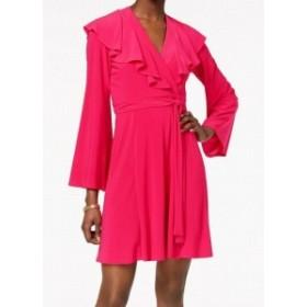 taylor テイラー ファッション ドレス Taylor NEW Pink Fuschia Ruffled Womens Size 12 V-Neck Wrap Dress