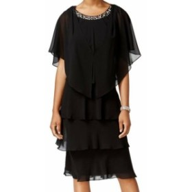 Pearl  ファッション ドレス SLNY NEW Black Pearl Embellished Womens Size 4 Tiered 2-Piece Dress