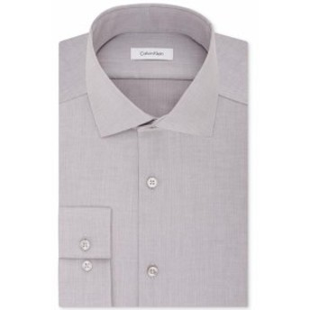 Calvin Klein カルバンクライン ファッション ドレス Calvin Klein Mens Gray Size 15 1/2 Slim Fit Herringbone Dress Shirt