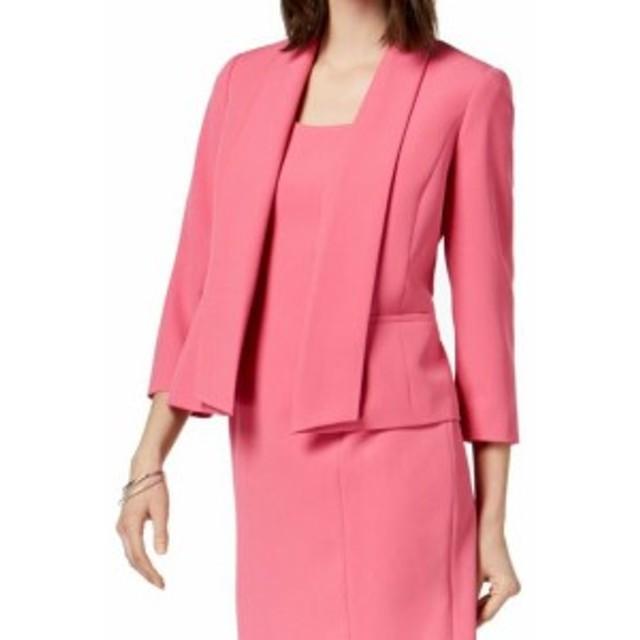 ファッション 衣類 Kasper Womens Jacket Deep Pink Size 4 Shawl-Collar Open-Front Solid