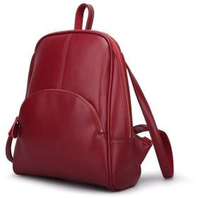 ZASUBC 旅行女性バッグノートブックバックパック革牛革カジュアルバックパック女子大学風バックパック (Color : Claret, Size : One size)