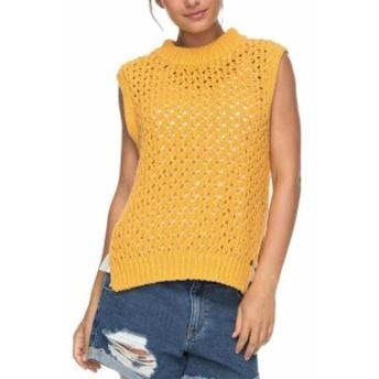 Roxy ロキシー ファッション トップス Roxy Womens Yellow Size Medium M Sleeveless Crewneck Open Knit Sweater