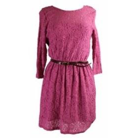 Maison  ファッション ドレス Maison Jules Pink 3/4-Sleeve Belted Lace Mini Dress M