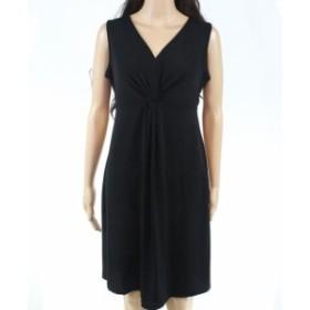 Leota レオタ ファッション ドレス Leota Womens Black Size Large L Twist-Knot V-Neck Sheath Dress