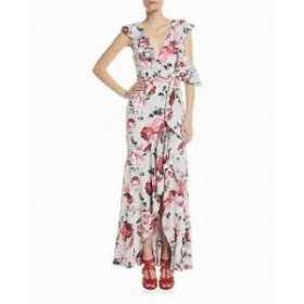 Maxi  ファッション ドレス Fame and Partners NEW White Womens Size 12 Floral Ruffled Maxi Dress