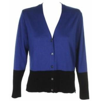 DKNY ダナキャランニューヨーク ファッション トップス Dkny Blue Black Colorblocked V-Neck Button Front Cardigan M