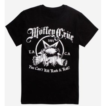 official オフィシャル ファッション トップス Motley Crue You Cant Kill Rock & Roll Black T-Shirt 100% Authentic Official NWT