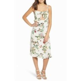 Leith ライス ファッション ドレス Leith Womens Dress White Small S Sheath Floral Print Ruffled Chiffon