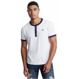 Religion  ファッション トップス True Religion Mens Contrast Henley Tee T-Shirt (Size L XL 2XL 3XL)