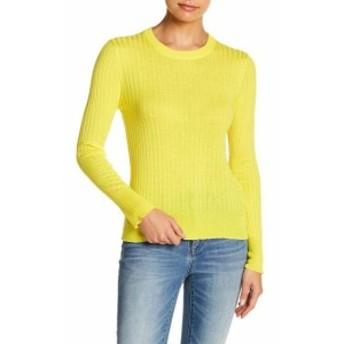 ファッション トップス Elodie NEW Yellow Ribbed Womens Size Small S Crewneck Pullover Sweater #313