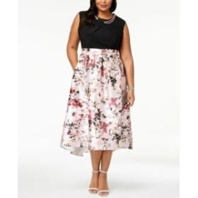 Pearl  ファッション ドレス SLNY Womens Black Multi Size 22W Plus Pearl Floral Print Shift Dress