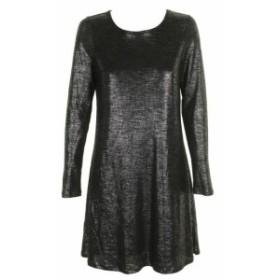 ファッション ドレス Bar III deep black metallic long sleeve straight cut dress m