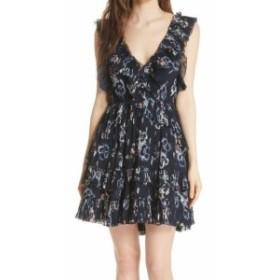 Rebecca Taylor レベッカテイラー ファッション ドレス Rebecca Taylor Womens Blue Size 10 V-Neck Floral Pleated Sheath Dress