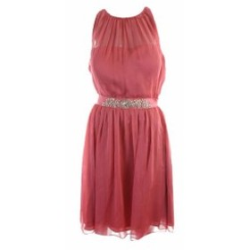 Adrianna Papell アドリアーナ パペル ファッション ドレス Adrianna Papell Coral Red with Belt Chiffon Dress with Neck Strap 6