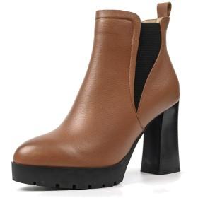[ANNIESHOE] チェルシ ブーツ ブーティ レザー 本革 ファッション カジュアル レディース シューズ ブロックヒール 歩きやすい 秋冬靴 ブラウン 24.5cm
