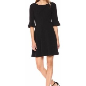 bell ベル ファッション ドレス Tahari by ASL Womens Dress Black Size 10 A-Line Bell Sleeve Ruffled