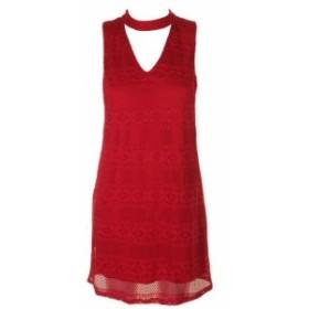 Red  ファッション ドレス BCX Junior Ruby Red Sleeveless Plunge Neck Tyres Shift Dress