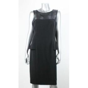 American  ファッション ドレス American Living Black Sleeveless Effect Peplum Dress with Sheath