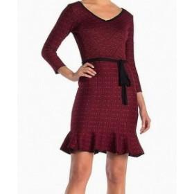 Gabby Skye ギャビースカイ ファッション ドレス Gabby Skye Dress Red Small S Knit Sheath Waist-Tie Ruffled Jacquard