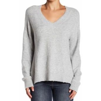 HEATHER  ファッション トップス Melrose & Market Womens Heather Gray Large L Plus V-Neck Knit Sweater
